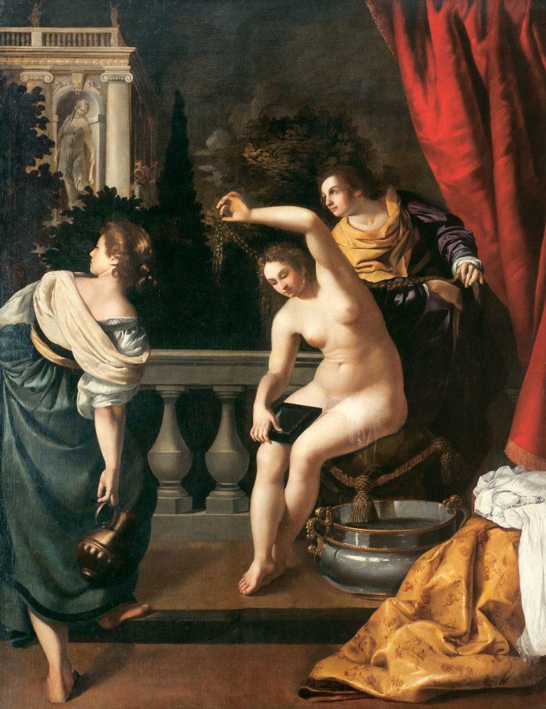Artemisia Gentileschi, Betsabea al bagno, 1640 circa; olio su tela, 288x228 cm; Collezione Privata, Roma.