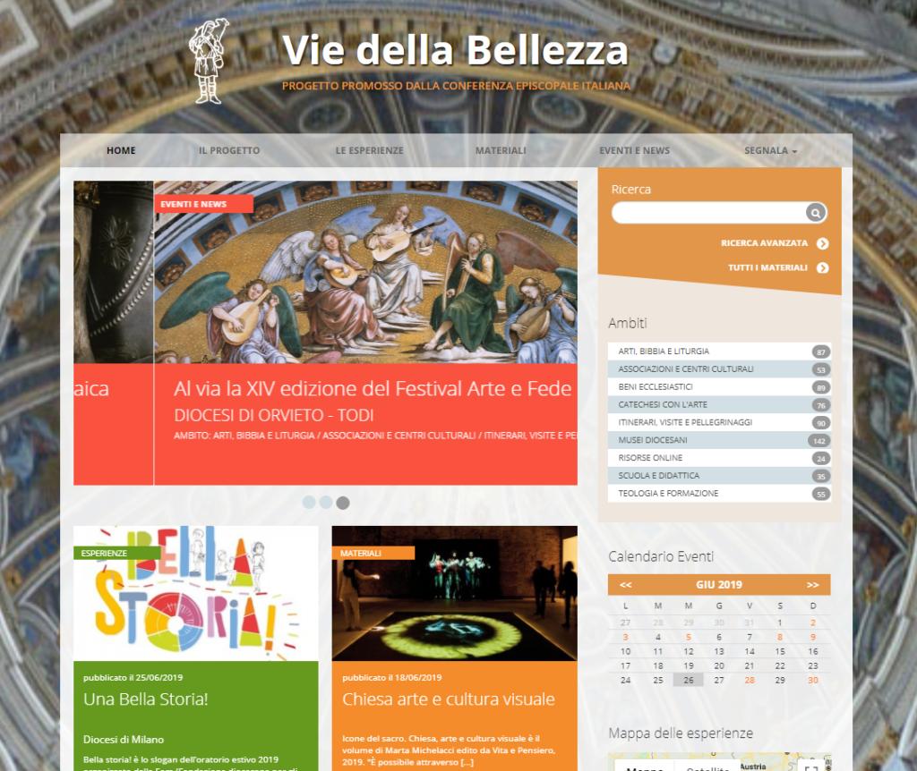 home page sito vie della bellezza