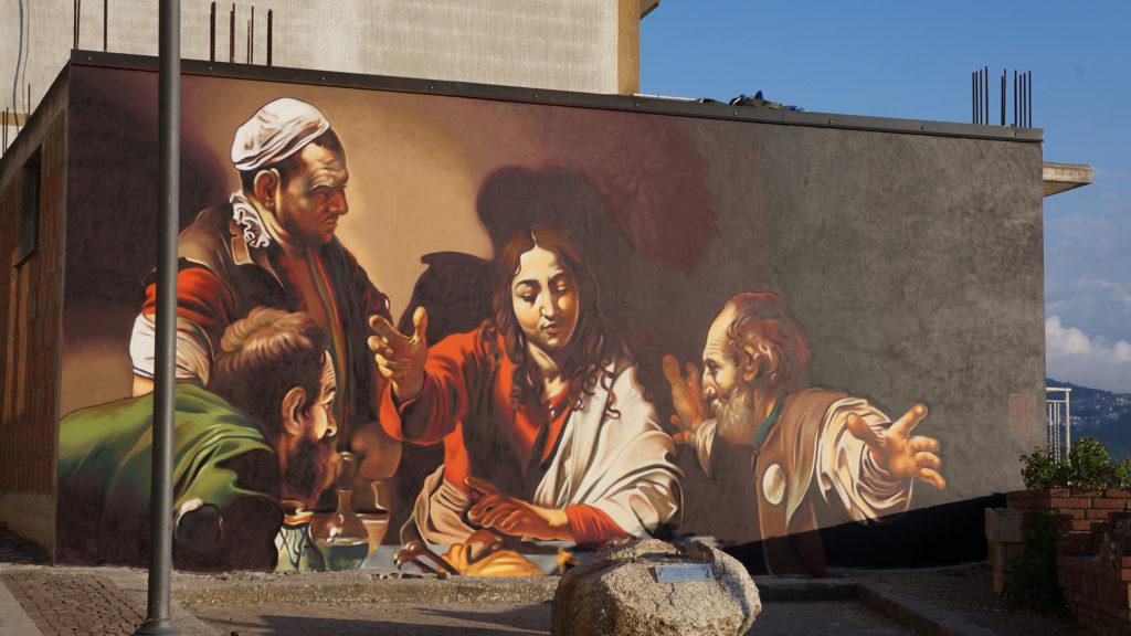 """Murales """"Cena in Emmaus"""" di Caravaggio - San Salvatore di Fitalia (ME)"""