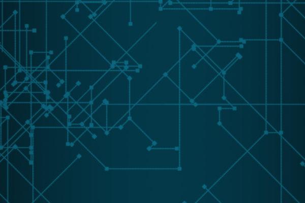 immagine con circuito stampato blu
