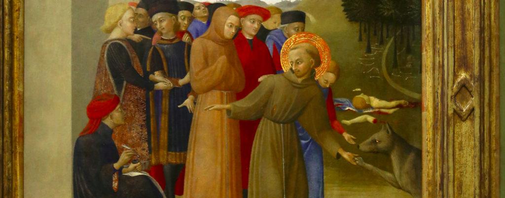 quadro che ritrae san francesco e il lupo di gubbio